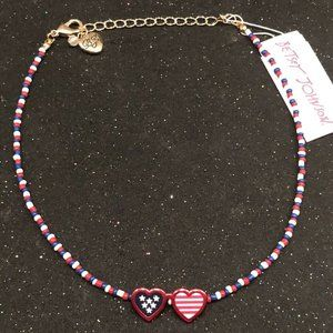 Betsey Johnson RWB Double Heart Necklace nwt